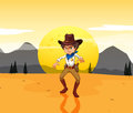 A mad cowboy at the desert Royalty Free Stock Photo