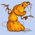 stock image of  Mad Halloween pumpkin snowman cartoon character with hands