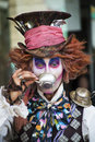 Mad hatter from a fairy tale alice in wonderland in theatre festival at haifa israel Royalty Free Stock Images