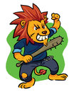 Mad lion angry bad with his bat Royalty Free Stock Photography