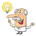 Mad scientist with lamp cartoon aged crazy having some idea Stock Photography