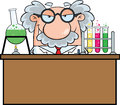 Mad scientist or professor in the laboratory cartoon character Royalty Free Stock Images