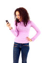 Mad woman black beautiful calling on cellphone Royalty Free Stock Photo