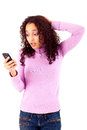 Mad woman black beautiful calling on cellphone Royalty Free Stock Images