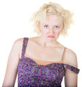 Mad woman with strap off angry female dress on shoulder Royalty Free Stock Image