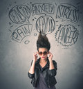 Mad young woman with extreme haisrtyle and speech bubbles Royalty Free Stock Photo