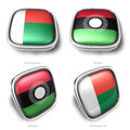 Madagascar malawi d metallic square flag button Stock Photo
