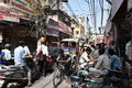 Maddening Crowded streets of old Delhi, it is usual day at Delhi Royalty Free Stock Photo