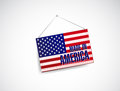 Made in america fabric textured banner hanging illustration design over white Stock Photos