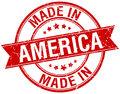 Made in America red round stamp