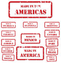 Made in america stamps set of red rubber of symbols for north central and south Stock Images