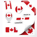 Made in canada collection of ribbon label stickers pointer badge icon and page curl with canadian symbol on design element vector Royalty Free Stock Image