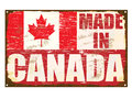 Made in canada enamel sign rusty old Stock Image