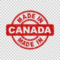 Made in Canada red stamp. Vector illustration on backgr