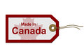 Made in canada red and white gift tag with words on white buy canadian products Stock Photo
