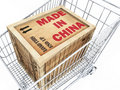 Made in China Crate in Shopping Cart Royalty Free Stock Photography