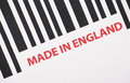 Made in england close up of a barcode with the words Stock Photos