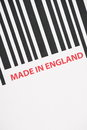 Made in england close up of a barcode with the words Stock Photo