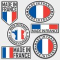Made in France label set with flag, made in EU sign set, vector Royalty Free Stock Photo