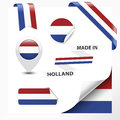 Made in holland collection of ribbon label stickers pointer badge icon and page curl with netherlands flag symbol on design Stock Photos