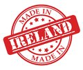 Made in Ireland red rubber stamp