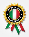 Made in italy golden badge Stock Photos