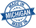 Made in Michigan blue round stamp