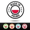 Made in Poland badges with flag. Flat Eps10 Vector.