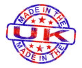 Made In The Uk Stamp Shows Product Or Produce From Britain Stock Images