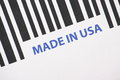 Made in usa barcode a close up of a and the words Stock Photo