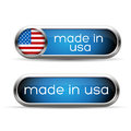 Made in usa button set vector Stock Photos