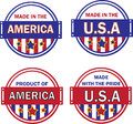 Made in usa collection vector art design blue red color mix can be use any kinda printing or publishing Stock Images