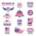 Made in usa. Flag made america american states flags product badge quality patriotic labels emblem star ribbon sticker