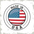 Made in USA flag button design Royalty Free Stock Photo