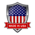 Made in usa glossy label on white background Stock Photography