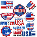 Made in the usa graphics and labels set of various on white vector illustration Stock Image
