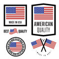Made in usa label set vector national flag symbol of quality manufacturing by united states of america tags and sticker collection Royalty Free Stock Images
