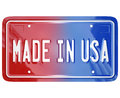 Made in the usa license vanity plate car a red white and blue with words to illustrate pride an american built vehicle or product Stock Image