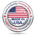 Made in USA, Premium Quality - shiny elegant button Royalty Free Stock Photo