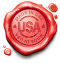Made in usa quality label original american product buy local buy authentic us america Stock Images