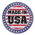 Made in USA red and blue rubber stamp