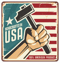 Made in usa retro metal sign vintage for percent american product with hand holding a tool vector design concept on Stock Photo