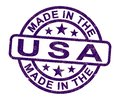 Made in the USA stamp shows American products produced or fabricated in America - 3d illustration