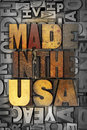 Made in the usa words written vintage letterpress type Royalty Free Stock Photography