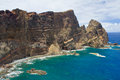 Madeira cliff with dykes located in showing geological evidence of and sills Royalty Free Stock Photography