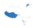 Madeira map highly detailed vector of with administrative regions main cities and roads Stock Photo