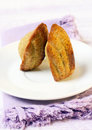Madeleine sweet cookies on plate Royalty Free Stock Images