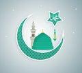 Madina Munawwara mosque - Saudi Arabia Green Dome of Prophet Muhammad flat design Islamic flat concept design Royalty Free Stock Photo