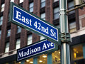 Madison avenue sign with nd st in midtown manhattan new york city Royalty Free Stock Photos