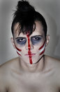 Madman indian the teenager in the form of a zombies on halloween Royalty Free Stock Photo